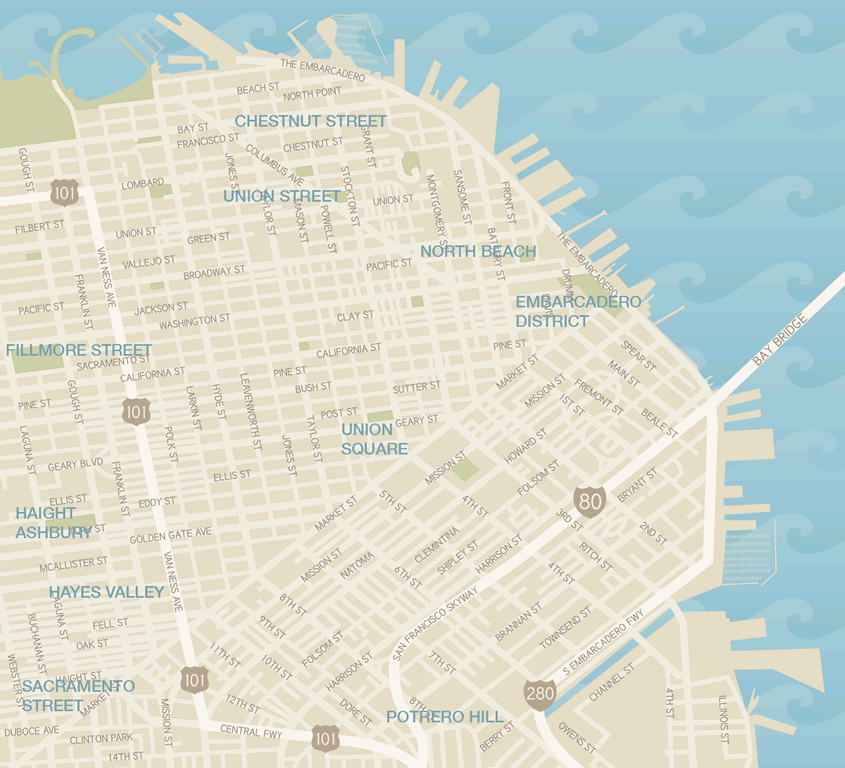 San Francisco Shopping Districts Map